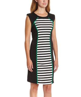 Shelby & Palmer Black & Emerald Stripe Bodycon Dress