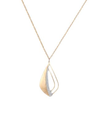 Alexa's Angels Two-Tone Cutout Teardrop Pendant Necklace
