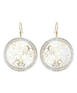 Alexa's Angels Two-Tone Circle Scroll Drop Earrings