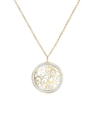 Alexa's Angels Two-Tone Circle Scroll Pendant Necklace
