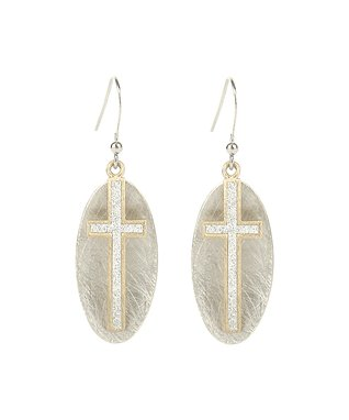 Alexa's Angels Two-Tone Cross Drop Earrings