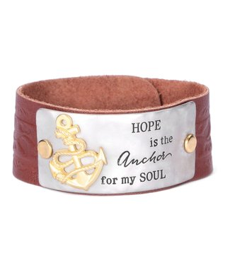 Alexa's Angels Tan & Two-Tone 'Hope Is the Anchor' Leather Bracelet