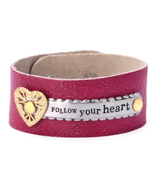Alexa's Angels Magenta & Two-Tone 'Follow Your Heart' Leather Bracelet