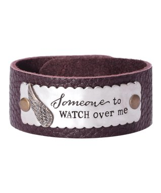 Alexa's Angels Mocha & Silver 'Watch Over Me' Leather Bracelet