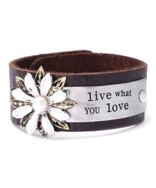 Alexa's Angels Mocha & Two-Tone 'Live What You Love' Leather Bracelet