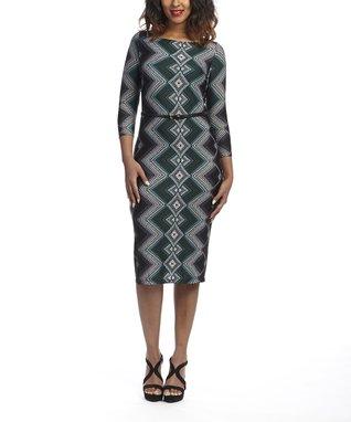 Shelby & Palmer Black & Olive Geometric Belted Dress