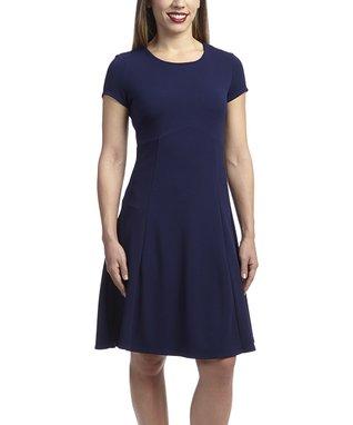 Shelby & Palmer Navy Empire-Waist Dress