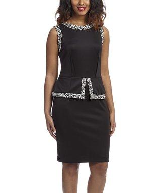 Shelby & Palmer Ivory & Black Leopard Peplum Dress