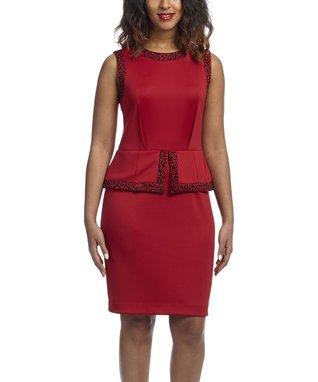 Shelby & Palmer Red & Black Leopard Peplum Dress