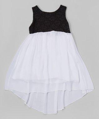 Black Floral Lace Hi-Low Dress - Toddler & Girls