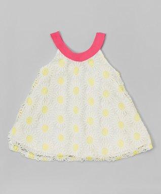 Black Stripe Flower Flutter-Sleeve Dress - Toddler & Girls