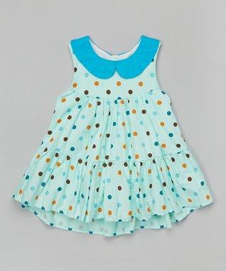 Green Polka Dot Collar Swing Dress - Toddler & Girls