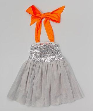 Gray Sequin Strapless Dress - Toddler & Girls