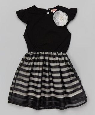 Pink Floral Sheer-Bodice Dress - Toddler & Girls