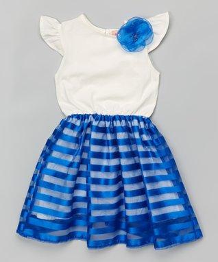 Royal Blue Stripe Flower Flutter-Sleeve Dress - Toddler