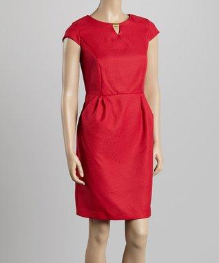 Shelby & Palmer Crimson Keyhole Sheath Dress