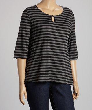 Seven Karat Silver & Black Stripe Lace-Back Scoop Neck Top - Plus