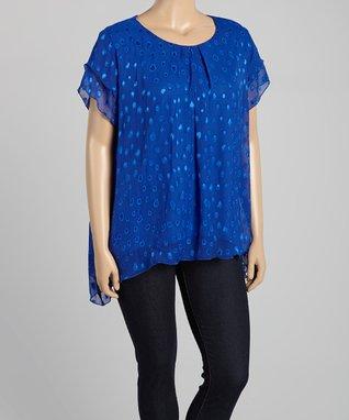 Seven Karat Royal Blue Abstract Overlay Sidetail Tunic - Plus