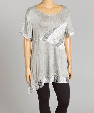 Seven Karat Heather Gray Abstract Lace-Trim Tunic - Plus