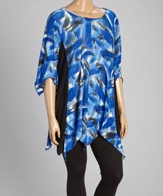 Seven Karat Royal Blue Abstract Flutter Tunic - Plus
