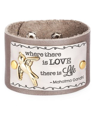 Alexa's Angels Pewter 'Life' Leather Bracelet
