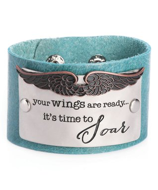 Alexa's Angels Teal 'Soar' Leather Bracelet
