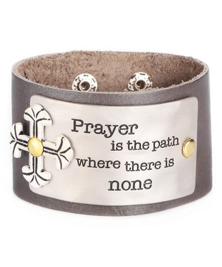 Alexa's Angels Pewter 'Prayer' Leather Bracelet