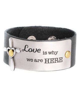 Alexa's Angels Black 'Love' Leather Bracelet