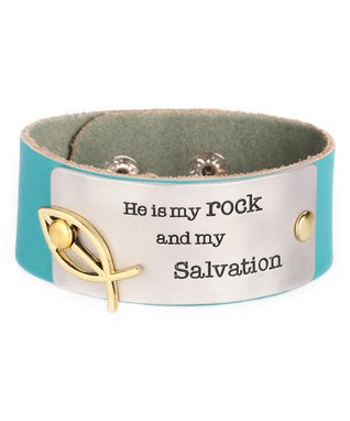 Alexa's Angels Teal 'Salvation' Leather Bracelet