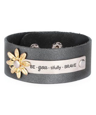 Alexa's Angels Black 'Brave' Leather Bracelet