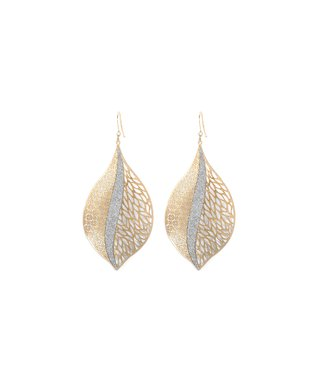 Alexa's Angels Two-Tone Leaf Drop Earrings