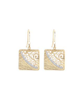 Alexa's Angels Two-Tone Ornate Square Drop Earrings