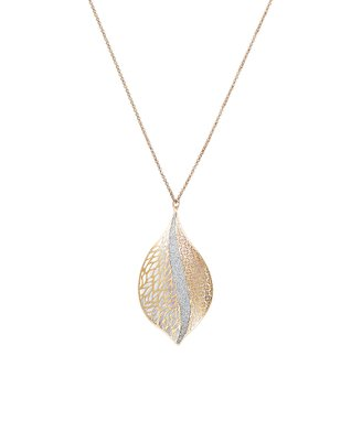 Alexa's Angels Two-Tone Leaf Pendant Necklace