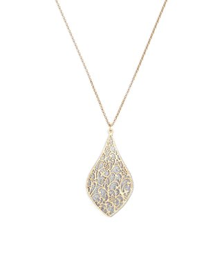 Alexa's Angels Two-Tone Ornate Pear Pendant Necklace