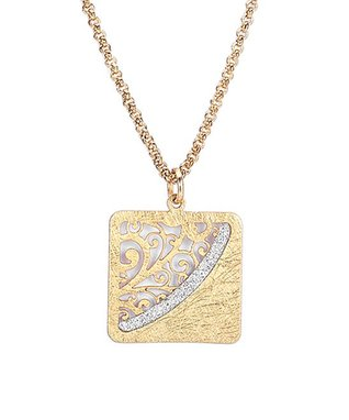 Alexa's Angels Two-Tone Ornate Square Pendant Necklace