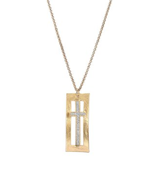 Alexa's Angels Two-Tone Oval Swirl Pendant Necklace