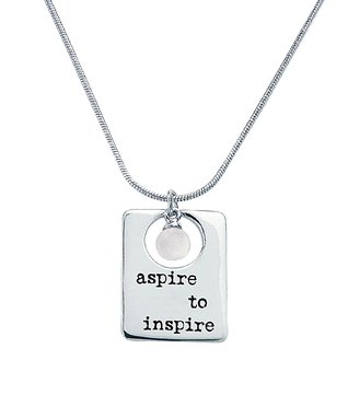 Alexa's Angels Sterling Silver & Pearl 'Aspire To Inspire' Pendant Necklace