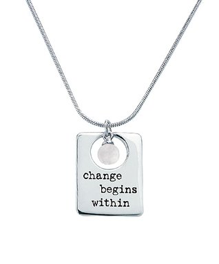 Alexa's Angels Sterling Silver & Pearl 'Change Begins Within' Pendant Necklace