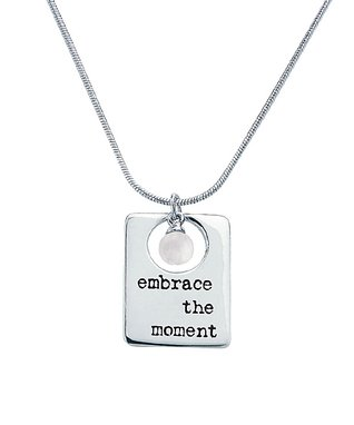 Alexa's Angels Sterling Silver & Pearl 'Embrace The Moment' Pendant Necklace