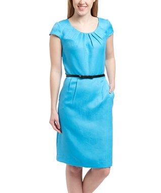 Shelby & Palmer Mediterranean Blue Cap-Sleeve Sheath Dress