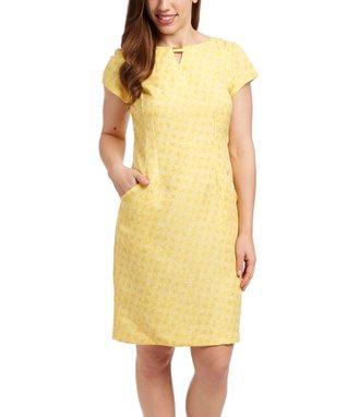Shelby & Palmer Yellow & White Plaid Notch Neck Dress