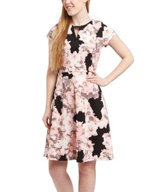 Shelby & Palmer Black & Blush Notch Neck Dress