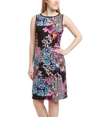 Shelby & Palmer Black & Tan Chevron Sheath Dress