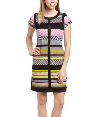 Shelby & Palmer Pink & Purple Stripe Cap-Sleeve Bodycon Dress