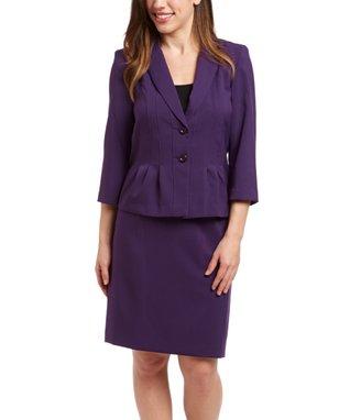 Shelby & Palmer Eggplant Ruffle Jacket & Skirt