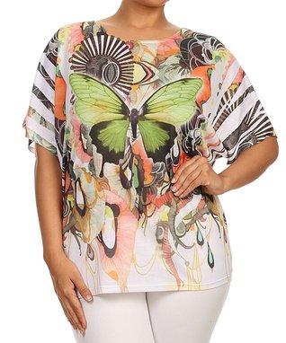 Seven Karat Green & White Butterfly Dolman Tunic - Plus