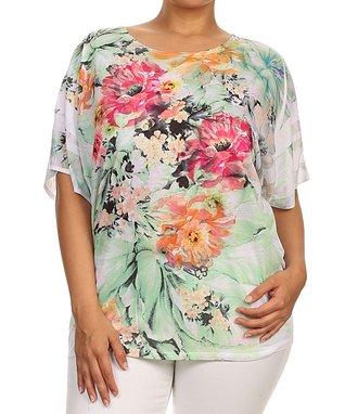 Seven Karat Pink & Blue Floral Dolman Tunic - Plus