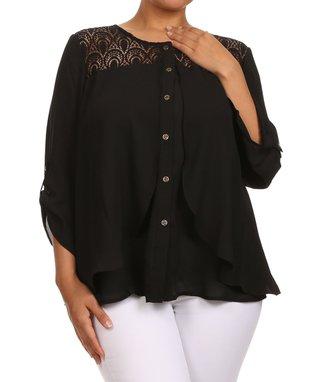 Seven Karat Black Lace Button-Up Top - Plus