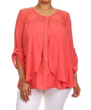 Seven Karat Coral Lace Button-Up Top - Plus