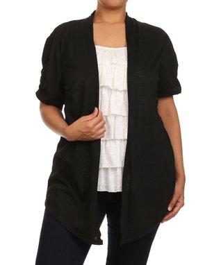 Seven Karat Black Asymmetrical Open Cardigan - Plus